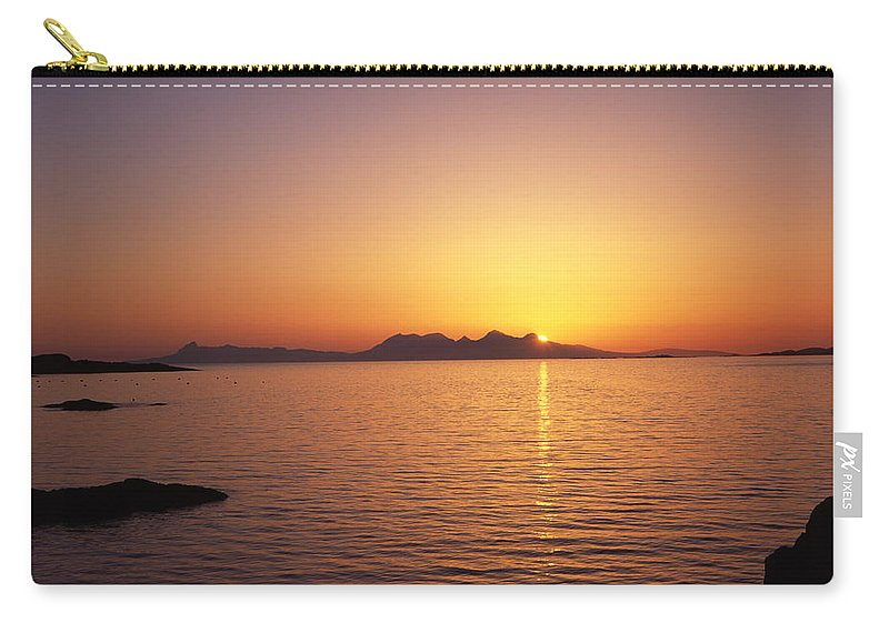 Sunset Rum Scotland Isle Island Islands Moidart Glenuig Sunsets Sea Coast Carry-all Pouch featuring the photograph Sunset Isle Of Rum From Glenuig Moidart Western Highlands Scotland by Michael Walters