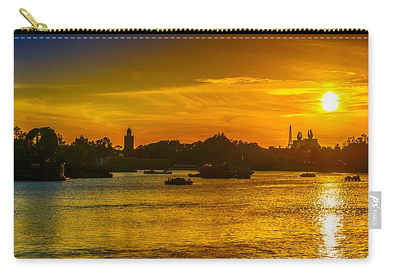 Epcot Carry-all Pouch featuring the photograph Sunset Lake by Gareth Burge Photography