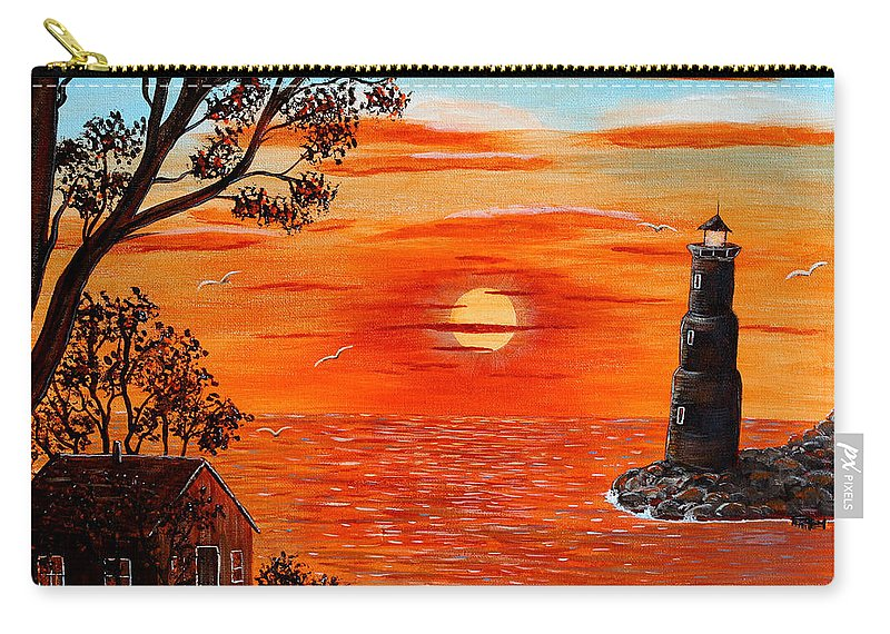 Sunset Lighthouse Carry-all Pouch featuring the painting Sunset Lighthouse by Barbara Griffin