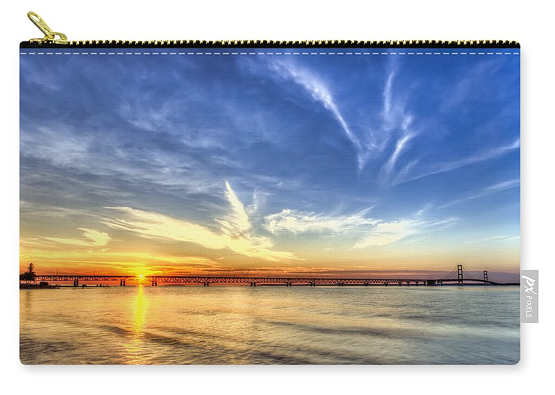 Michigan Carry-all Pouch featuring the photograph Sunset Mackinac Bridge by Scott Wood