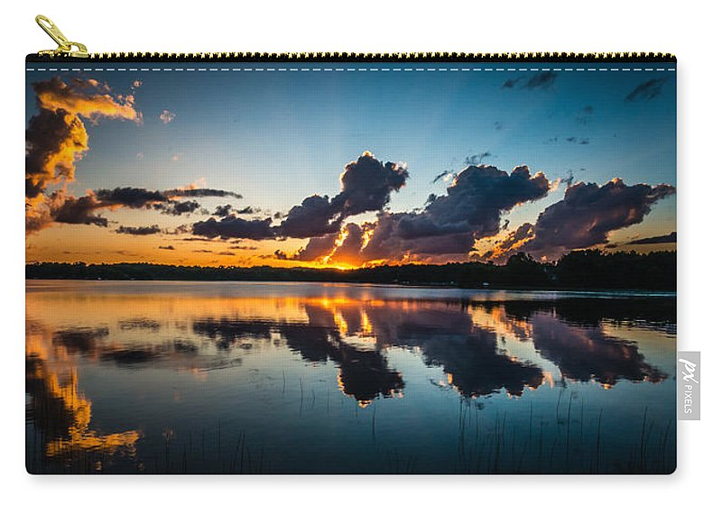 Sunset Carry-all Pouch featuring the photograph Sunset On Little Pine Lake by Paul Freidlund