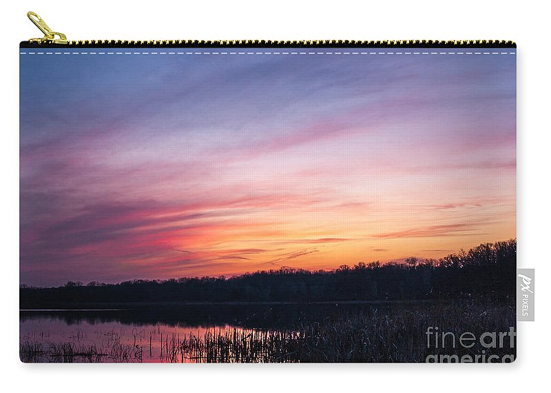 Sunset Carry-all Pouch featuring the photograph Sunset On Teeple Lake by Patrick Shupert