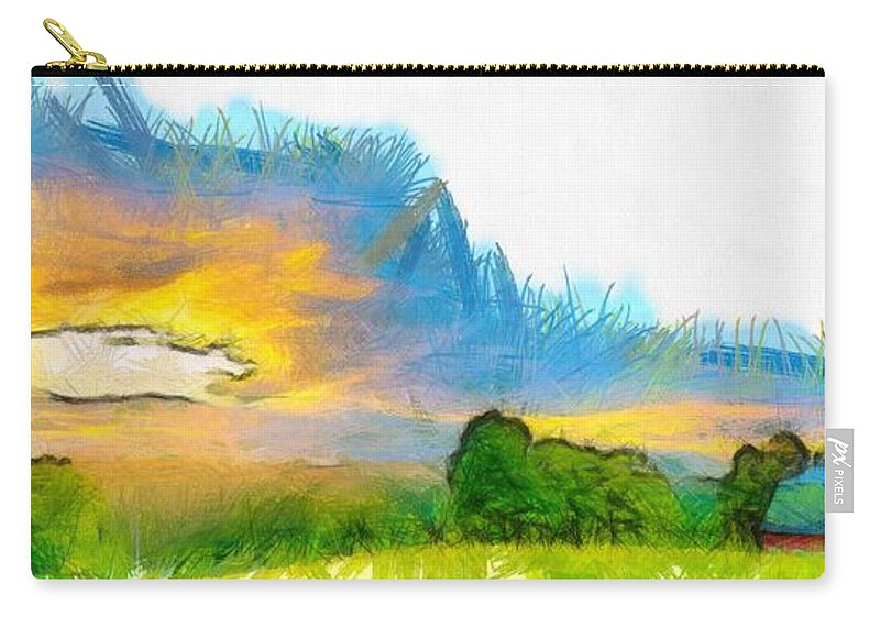 Etna Carry-all Pouch featuring the photograph Sunset On The Farm Pencil by Edward Fielding
