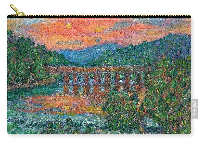 Kendall Kessler Carry-all Pouch featuring the painting Sunset On The New River by Kendall Kessler