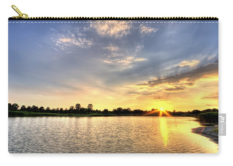 Hdr Carry-all Pouch featuring the photograph Sunset On The Pond by Scott Wood