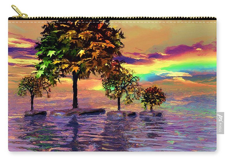 Trees Carry-all Pouch featuring the painting Sunset On Trees And Ocean by Susanna Katherine