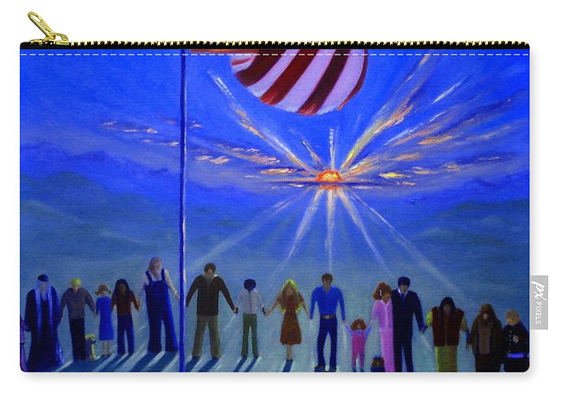 American Flag Carry-all Pouch featuring the painting Sunset Or Sunrise by Rebecca Hendrix