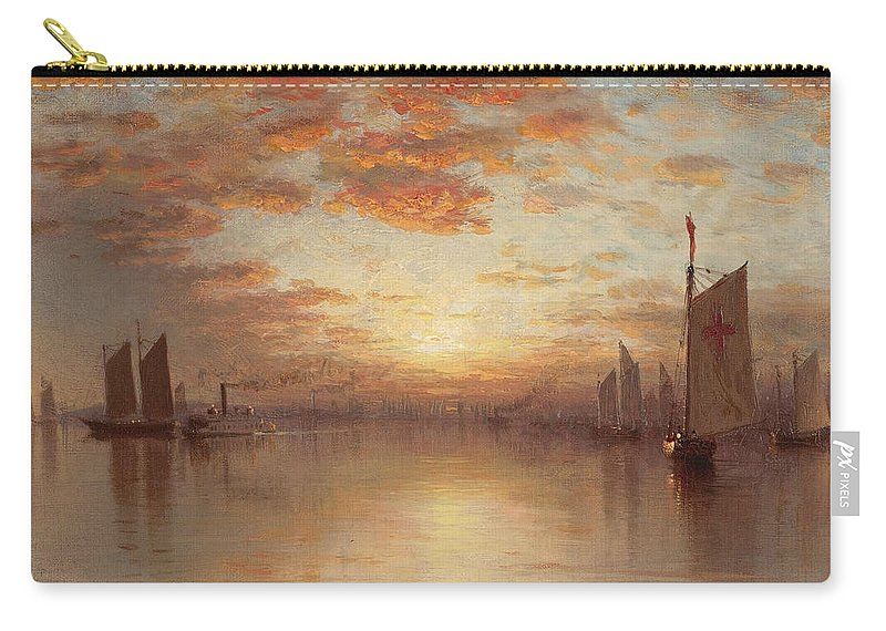 Sanford Robinson Gifford Carry-all Pouch featuring the painting Sunset Over New York Bay by Sanford Robinson Gifford