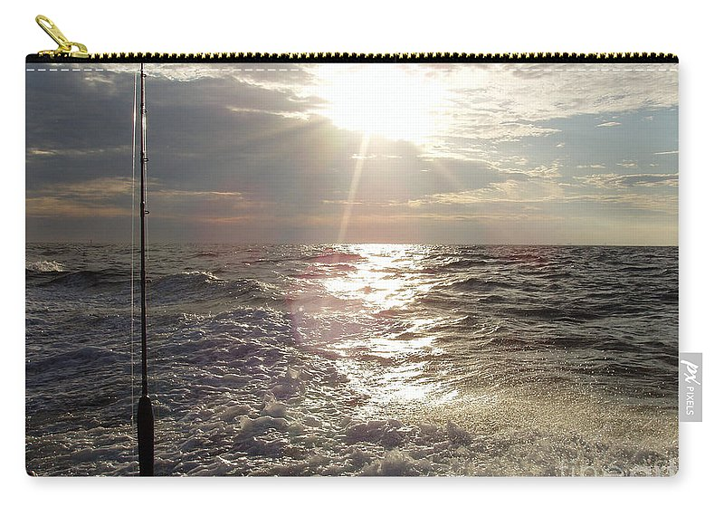 Sunset Over Nj After Fishing Carry-all Pouch featuring the photograph Sunset Over Nj After Fishing by John Telfer