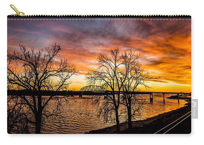 Carry-all Pouch featuring the photograph Sunset Over The Mississippi River by Paul Brooks