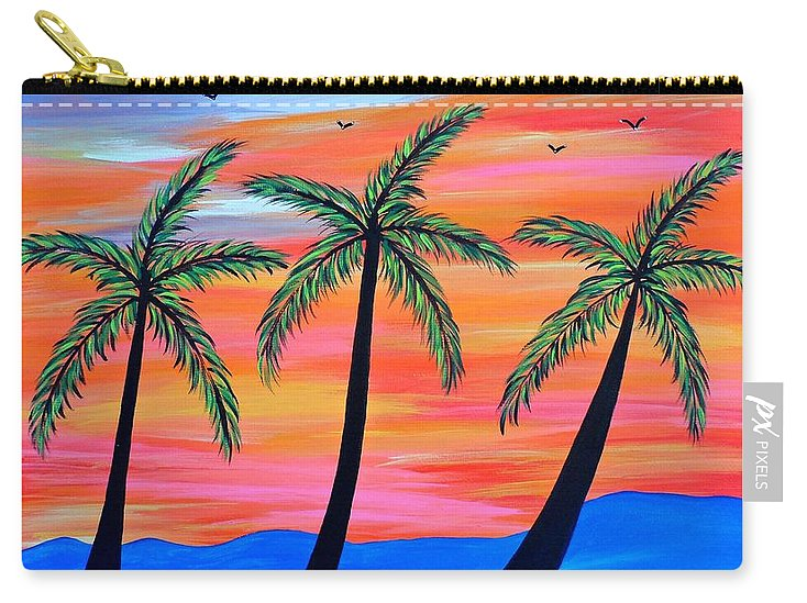 Palm Carry-all Pouch featuring the painting Sunset Palms by JoNeL Art
