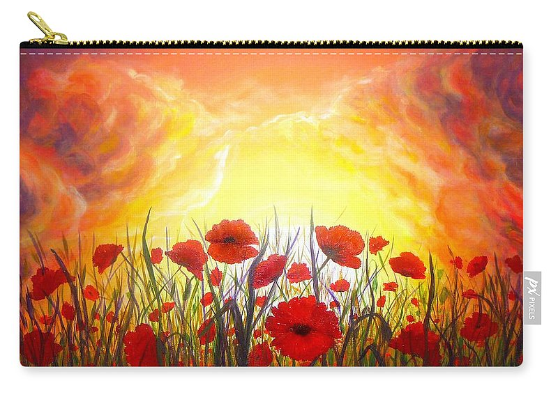 Original Art Carry-all Pouch featuring the painting Sunset Poppies by Lilia D