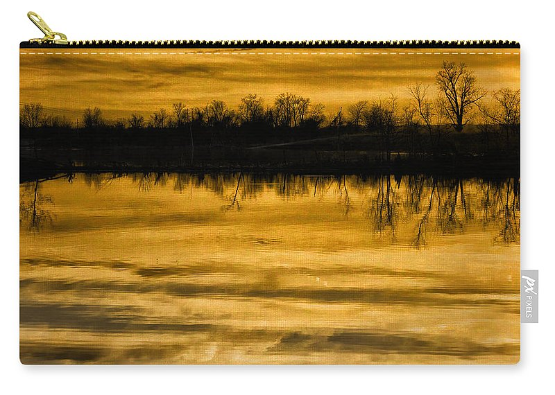 Sunset Carry-all Pouch featuring the photograph Sunset Riverlands West Alton Mo Sepia Tone Dsc03319 by Greg Kluempers