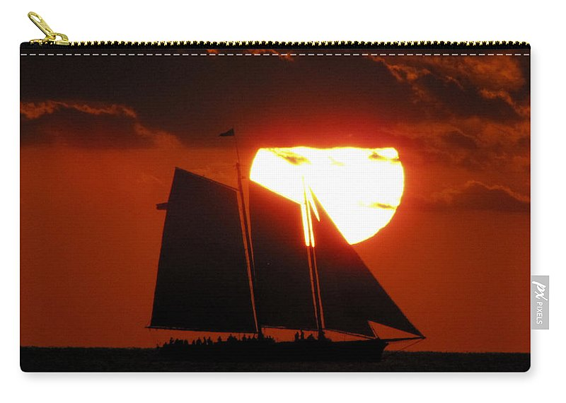 Orange Carry-all Pouch featuring the photograph Key West Sunset Sail 5 by Bob Slitzan