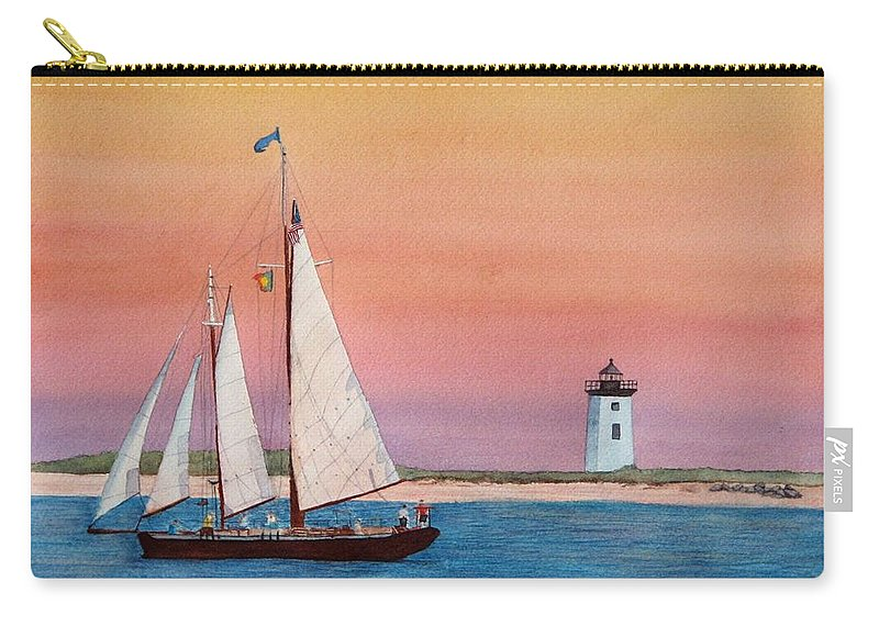 Sailboat Carry-all Pouch featuring the painting Sunset Sail by Sharon Farber