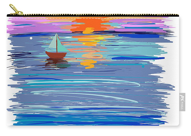 Sunset Carry-all Pouch featuring the painting Sunset Sailing by Angela Stanton