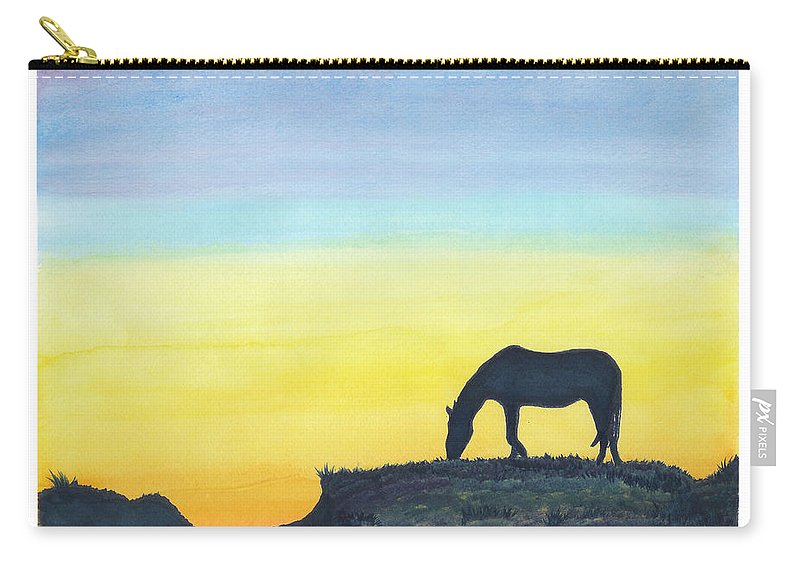 C Sitton Painting Paintings Carry-all Pouch featuring the painting Sunset Silhouette by C Sitton