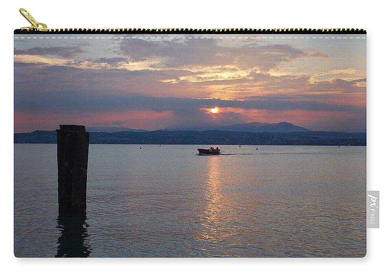 Francacorta Carry-all Pouch featuring the photograph Sunset. Sirmione. Lago Di Garda by Jouko Lehto