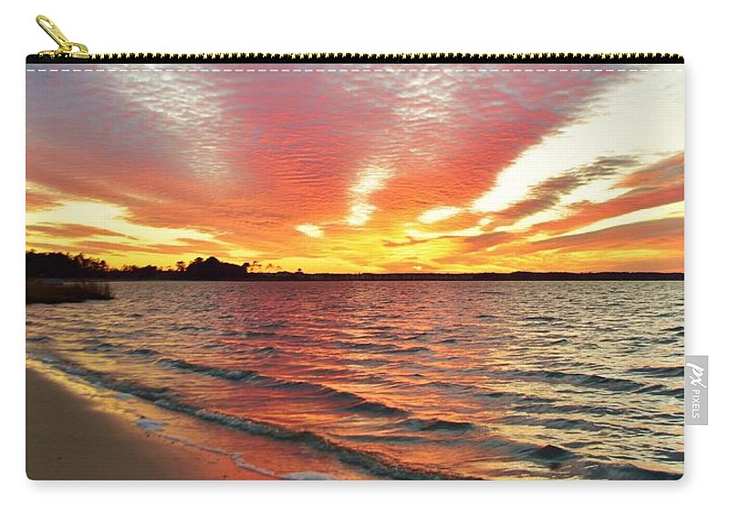 Beach Bum Pics Carry-all Pouch featuring the photograph Sunset Streaks by William Bartholomew