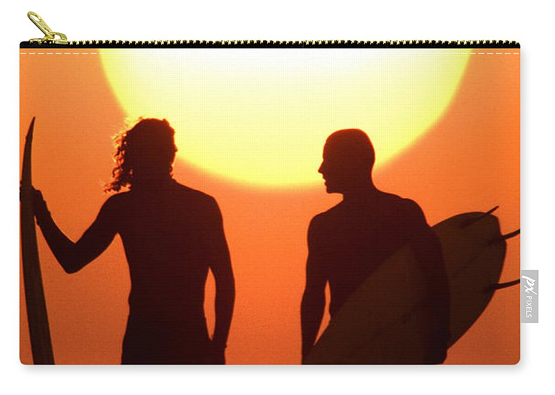 Surf Lifestyle Carry-all Pouch featuring the photograph Sunset Surfers by Sean Davey