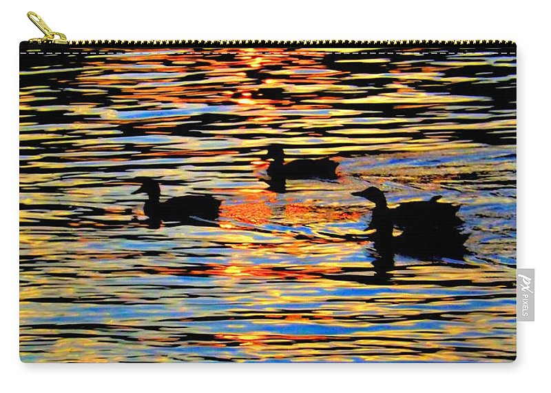 Sunset Carry-all Pouch featuring the photograph Sunset Swim by Robyn King