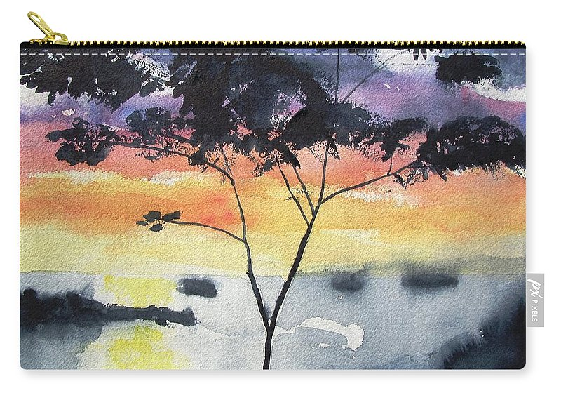 Tree Silhouette Carry-all Pouch featuring the painting Sunset Tree Koh Chang Thailand by Carlin Blahnik CarlinArtWatercolor
