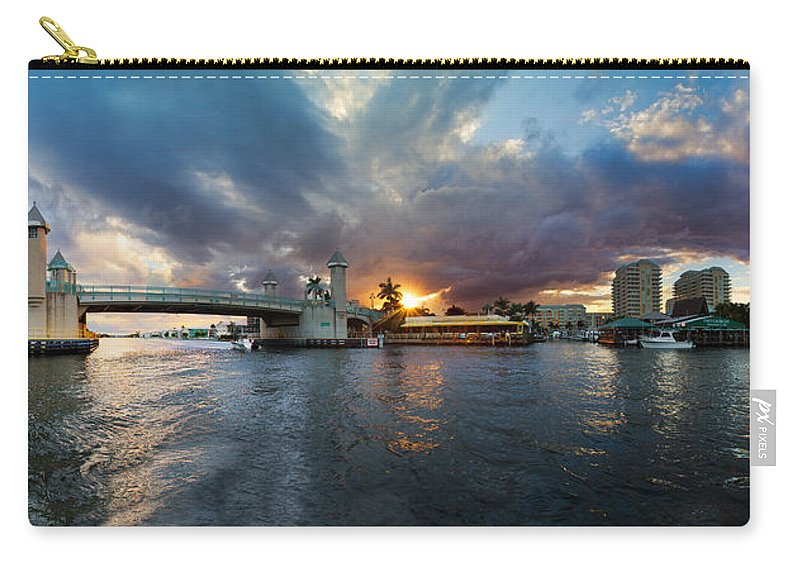 Boats Carry-all Pouch featuring the photograph Sunset Waterway Panorama by Debra and Dave Vanderlaan