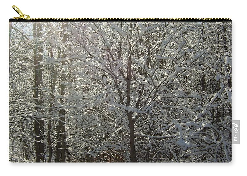 Carry-all Pouch featuring the photograph Sunshine And Snow by Katerina Naumenko