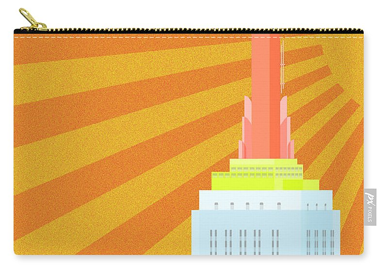 Empire State Building Vector Carry-all Pouch featuring the digital art Sunshine City by Nishanth Gopinathan
