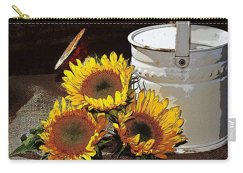 Sunflowers Carry-all Pouch featuring the photograph Sunshine From The Garden by Phyllis Denton