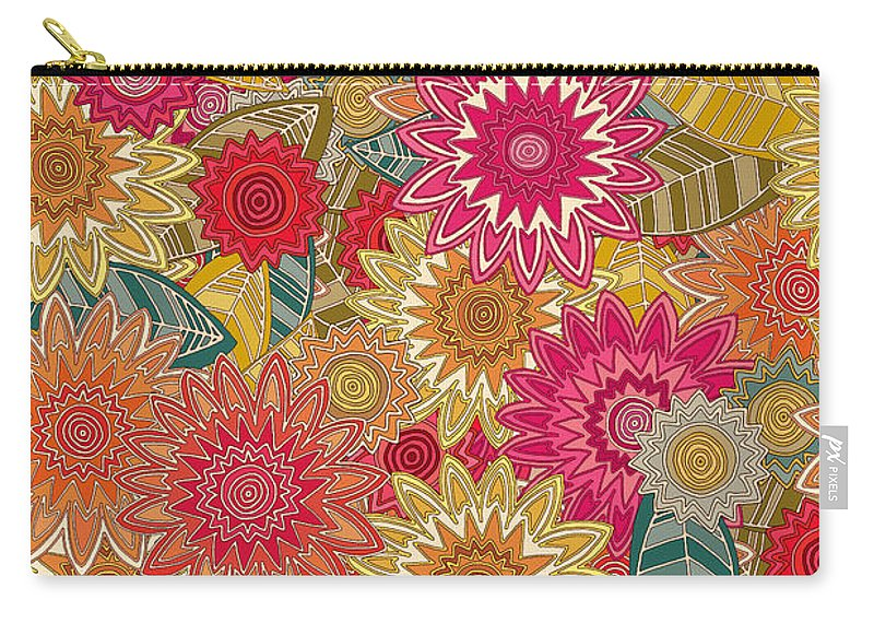 Floral Carry-all Pouch featuring the drawing Sunshine Garden by MGL Meiklejohn Graphics Licensing