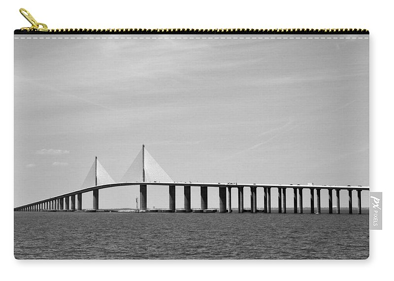 4.1 Carry-all Pouch featuring the photograph Sunshine Skyway Bridge Bw II Tampa Bay Florida Usa by Sally Rockefeller