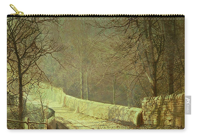 Carry-all Pouch featuring the painting Sunshine Through Winter Trees by John Atkinson Grimshaw