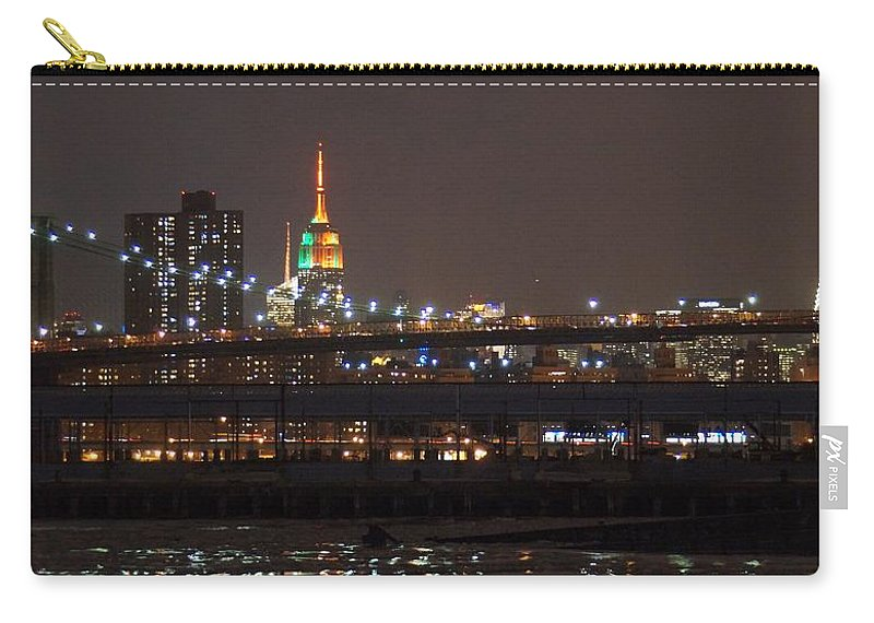 Midtown New York City Manhattan Ny Island Brooklyn Bridge Nighttime Skyline Super Bowl River Ice Winter Chrysler Building Empire State Building Seahawks Broncos Carry-all Pouch featuring the photograph Super Bowl Colors by John Wall