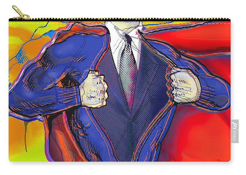 Dad Carry-all Pouch featuring the painting Super Dad by Tony Rubino
