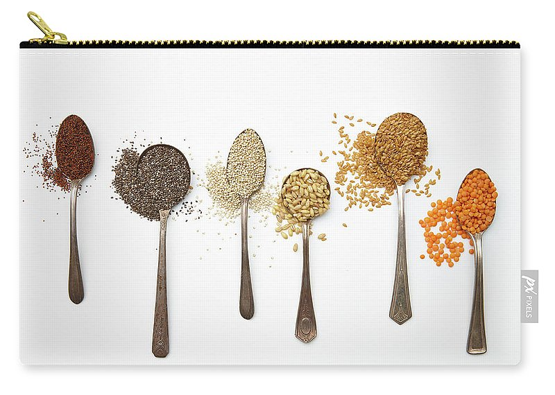 White Background Carry-all Pouch featuring the photograph Super Food Grains by Lew Robertson