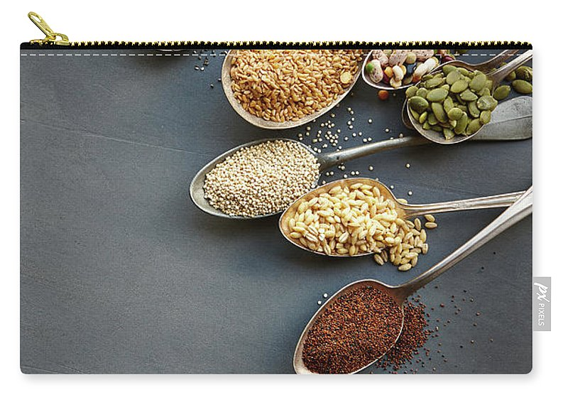 In A Row Carry-all Pouch featuring the photograph Super Food Grains On Spoons by Lew Robertson