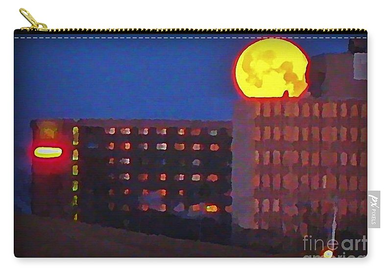 Super Moon In Halifax Nova Scotia Carry-all Pouch featuring the painting Super Moon In Halifax Nova Scotia by John Malone