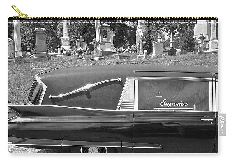 Superior Hearse Laurel Hill Cemetary Philadelphia Pa Car Show Black White Carry-all Pouch featuring the photograph Superior by Alice Gipson