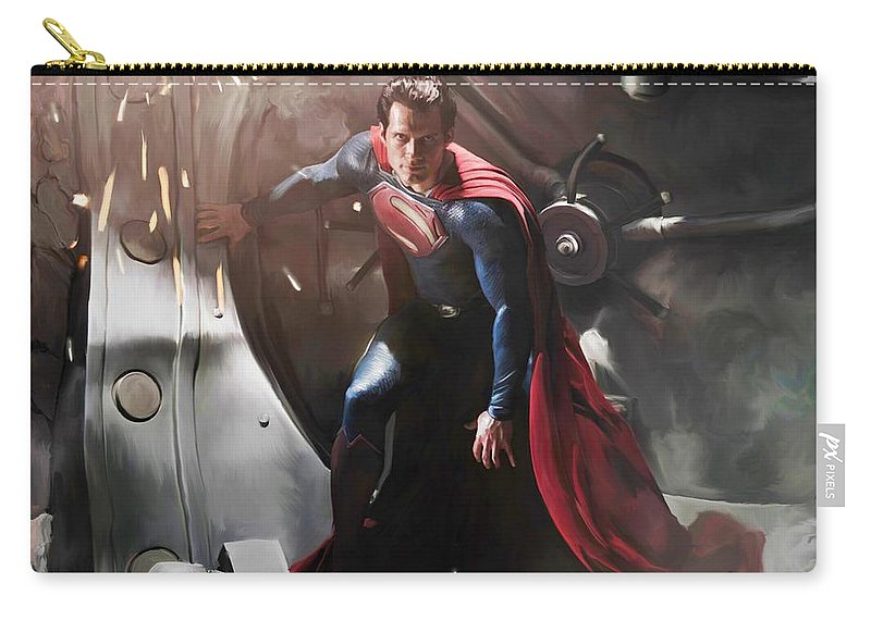 Superman Carry-all Pouch featuring the painting Superman by Paul Tagliamonte