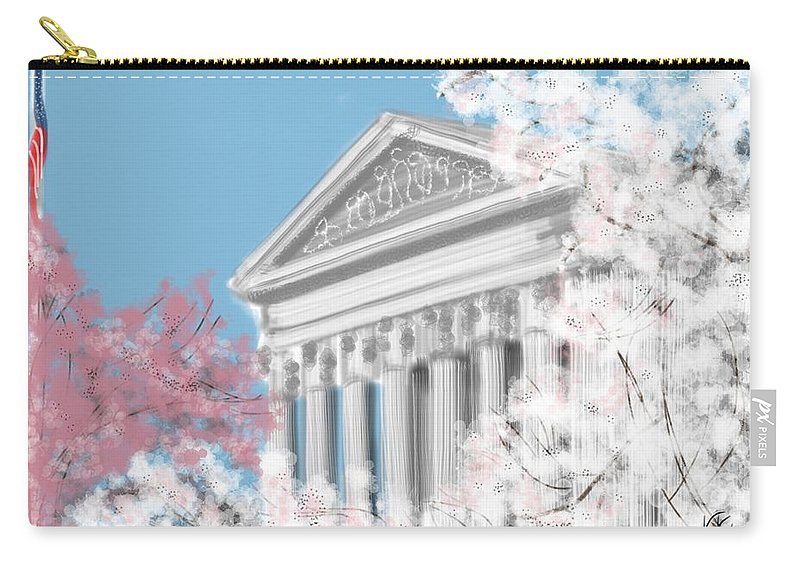Supreme Court Carry-all Pouch featuring the painting Supreme Court Washington Dc by Lois Ivancin Tavaf