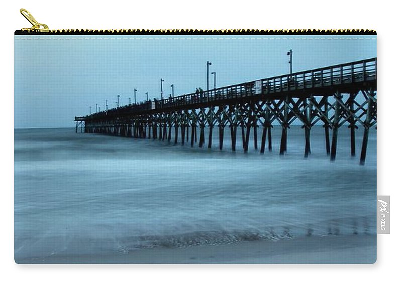 Carry-all Pouch featuring the photograph Surf City Pier Soft 2 by Rand Wall