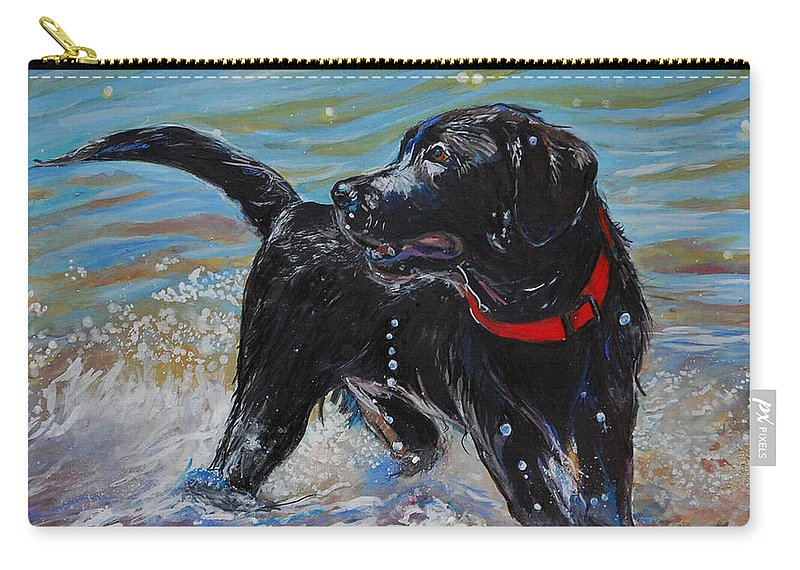 Black Labrador Retriever Puppy Carry-all Pouch featuring the painting Surf Pup by Molly Poole