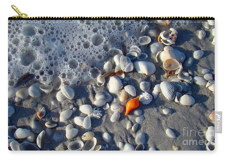Shells Carry-all Pouch featuring the photograph Surf Sand Shells by Nancy L Marshall