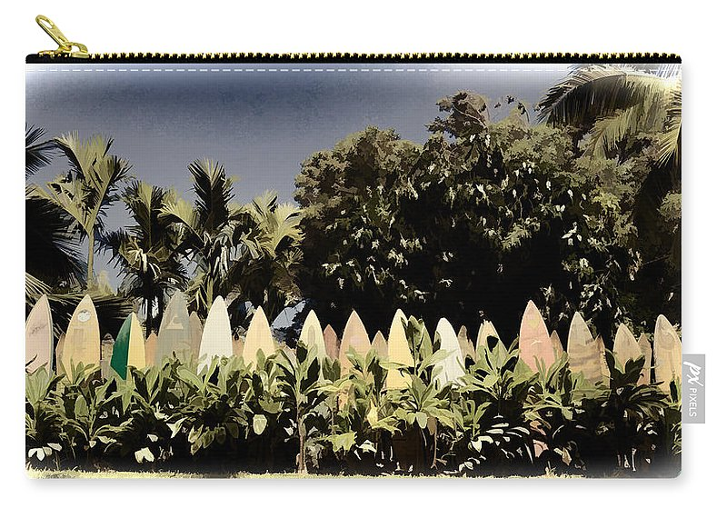 Nature Carry-all Pouch featuring the photograph Surfboard Fence - Old Postcard by Paulette B Wright