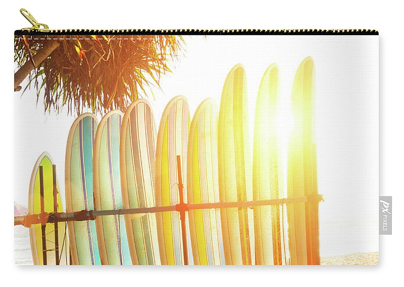 Recreational Pursuit Carry-all Pouch featuring the photograph Surfboards At Ocean Beach by Arand