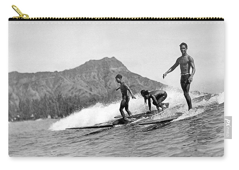 16-20 Years Carry-all Pouch featuring the photograph Surfing In Honolulu by Underwood Archives