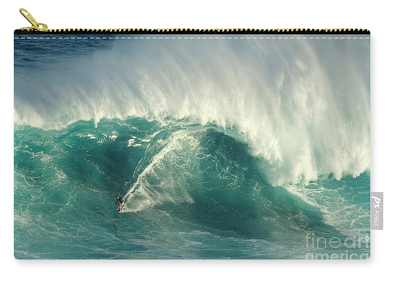 Surf Carry-all Pouch featuring the photograph Surfing Jaws 2 by Bob Christopher