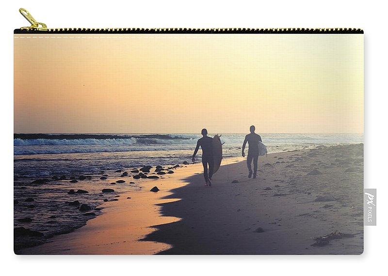 Water's Edge Carry-all Pouch featuring the photograph Surfing Rincon Point Surfers Beach by Amparo E. Rios