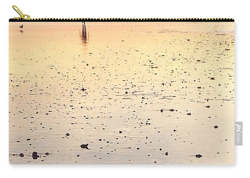 Surfing Carry-all Pouch featuring the photograph Surfing Sunset by Eric Schiabor